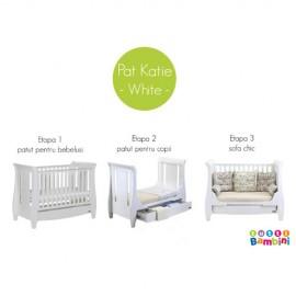 Set mobilier Katie White din 3 piese patut comoda si dulap