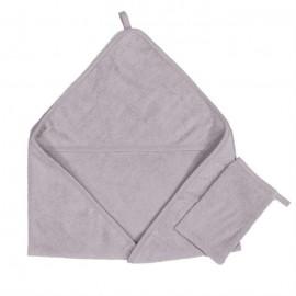 Quax - Prosop cu gluga si manusa de baie bumbac Soft Grey