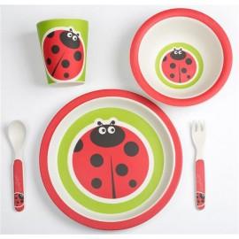BabyGo - Set de alimentatie Bamboo Ladybug 5 piese