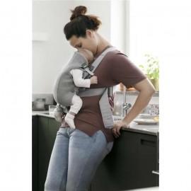 Marsupiu anatomic BabyBjorn Mini cu pozitii multiple de purtare - Light Grey 3D Jersey