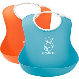 BabyBjorn - Set 2 bavete Soft Bib Orange-Turquoise