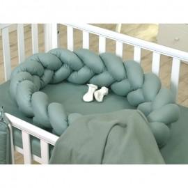 Protectie impletita pentru patut si Baby Nest Jolie Pure Salvia 240x21 cm