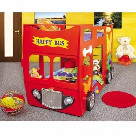 Pat etajat in forma de masina Happy Bus Plastiko