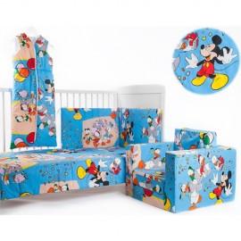 Set lenjerie patut 3 piese Mickey si Prietenii Lui BebeDeco