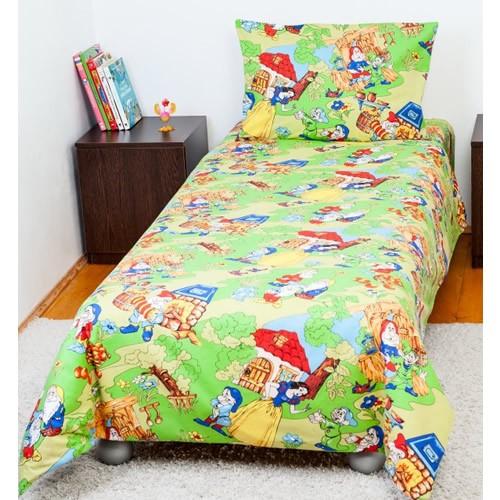 Lenjerie pat copii 1 persoana Alba ca Zapada Bebedeco